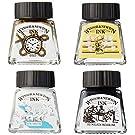 Winsor & Newton 1090103 Teckningsset 4 färger, vattentät för illustratörer, grafiker, kalligrafi och konstnärer – svart/vit/guld/silver