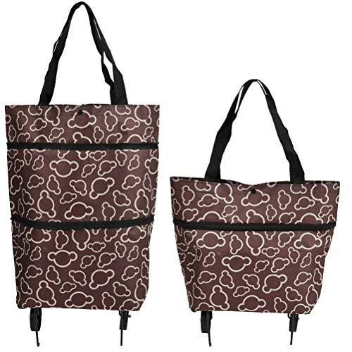 THETHO Bolsa de la Compra Plegable con 2 Ruedas, 2 en 1 Bolsa de Carrito de Compra con Ruedas Reutilizable para Hogar Supermercadoa Bolsa de Viaje de Compras de Gran Capacidad