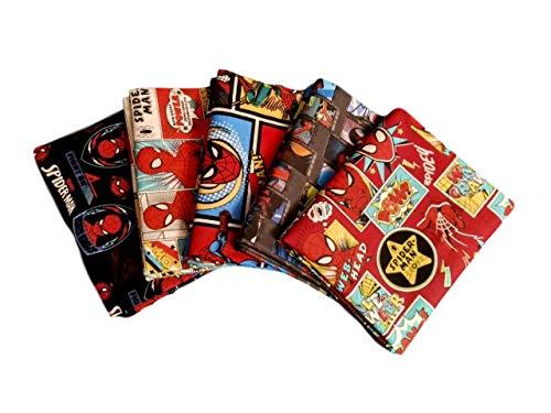 Fat Quarter (1/4 Yard) Fabric Bundle Set 5 Spiderman Stack (0.25 Yard Bundle)