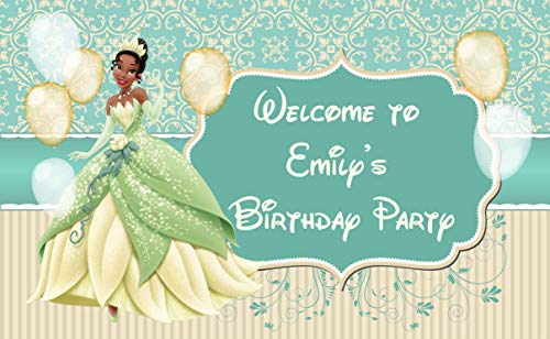 Princess Tiana Birthday Banner The Princess and the Frog Personalized Party Backdrop Decoration ikban65