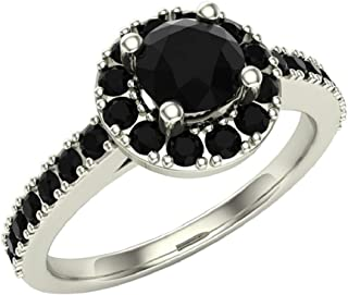Black Diamond Halo Ring 1 Carat Total Weight 14K Solid Gold