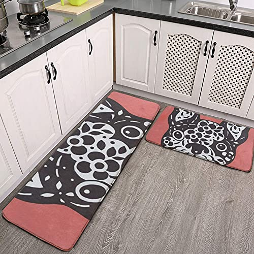 Kitchen Mat Cushioned Anti-Fatigue Kitchen Rug French Bulldog Sugar Skull on Coral Non Slip Waterproof Kitchen Mats and Rugs Comfort Mat for Kitchen, Floor Home, Office, Sink, Laundry