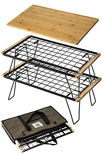 ChillCamping(チルキャンピング) フィールドラック キャンプ アウトドア テーブル 焚き火テーブル フィールドシェルフ (ラック2段、天板1枚、収納袋)