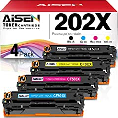Contents:1-Pack CF500X Black,1-Pack CF501X Cyan, 1-Pack CF502X Yellow, 1-Pack CF503X Magenta, 4 pack with chip Compatible Printers: Compatible HP 202X 202A toner cartridges suitable for HP Color LaserJet Pro MFP M281fdw M254dw MFP M281cdw M254 M254dn...