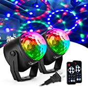 CCJK Disco Party Ball Lights, Sound Activated Party Lights with Remote Control 7 Color RGB Dance Disco Strobe Light for Kids Festival Celebration Family Parties Birthday Christmas Wedding (2 Pack)