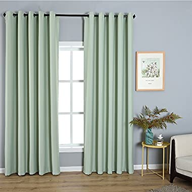 Dreaming Casa Solid Room Darkening Blackout Curtains For Bedroom Draperies Window Treatment 2 Panels Light Green Grommet Top 2(52  W x 84  L)