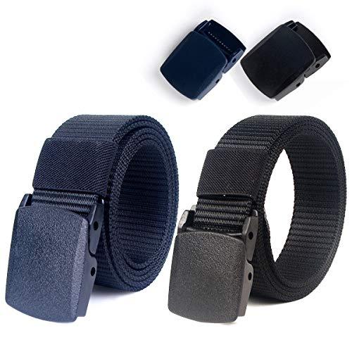 """Lalafancy Paquete de 2 hombres Cinturón 1.5""""Nylon Cinturón de malla militar sin hebilla de metal (Negro + Azul)"""