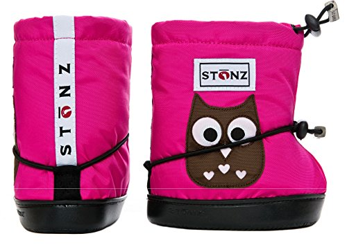 Stonz Three Season Stay-On Baby Booties, for Bare Feet or Shoes, for Mild or Cold Snow Weather, Owl - Fuchsia Large