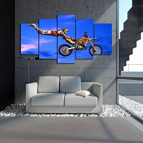 5 Panel/Set Lienzos Handart Cuadro En Lienzo Cinco Partes HD Clásico Óleo Impresiones Decorativas Cartel Arte Pared Pinturas Hogar Lienzo Saltos De Motocross Pintura Grupal