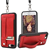 TOOVREN iPhone 8 Plus Wallet Case, iPhone 7 Plus Case with Card Holder Lanyard Necklace iPhone 8 Plus Case with Stand iPhone 7 Plus Case Wallet Detachable iPhone Case with Strap for Anti-Lost Red