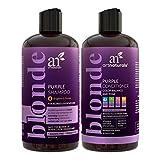 Juego de champú y acondicionador púrpura de ArtNaturals, protege, equilibra y tonifica, para cabello blanqueado, teñido, plateado y rubio, 2 botes de 473 ml