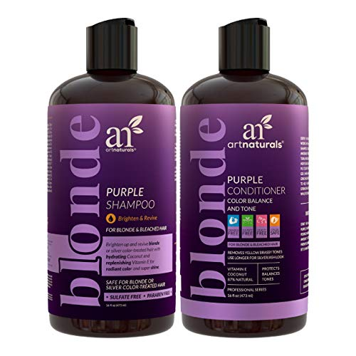 artnaturals Purple Shampoo and Conditioner Set – (2 x 16 Fl Oz / 473ml) – Protects, Balances and Tones – Bleached, Color Treated, Silver, Brassy and Blonde Hair - Sulfate Free