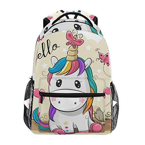 Tarity Hello Butterfly Unicorn School Backpack Small Travel Bag Students Bookbags Teenagers Casual Daypacks Stylish Print Durable Backpack Laptop Computer Bag For Kids Boys Girls Women