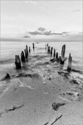 Posterlounge Acrylglasbild 60 x 90 cm: Holzbuhne am Strand Heiligenhafen Fehmarn von Dennis Stracke - Wandbild, Acryl Glasbild, Druck auf Acryl Glas Bild