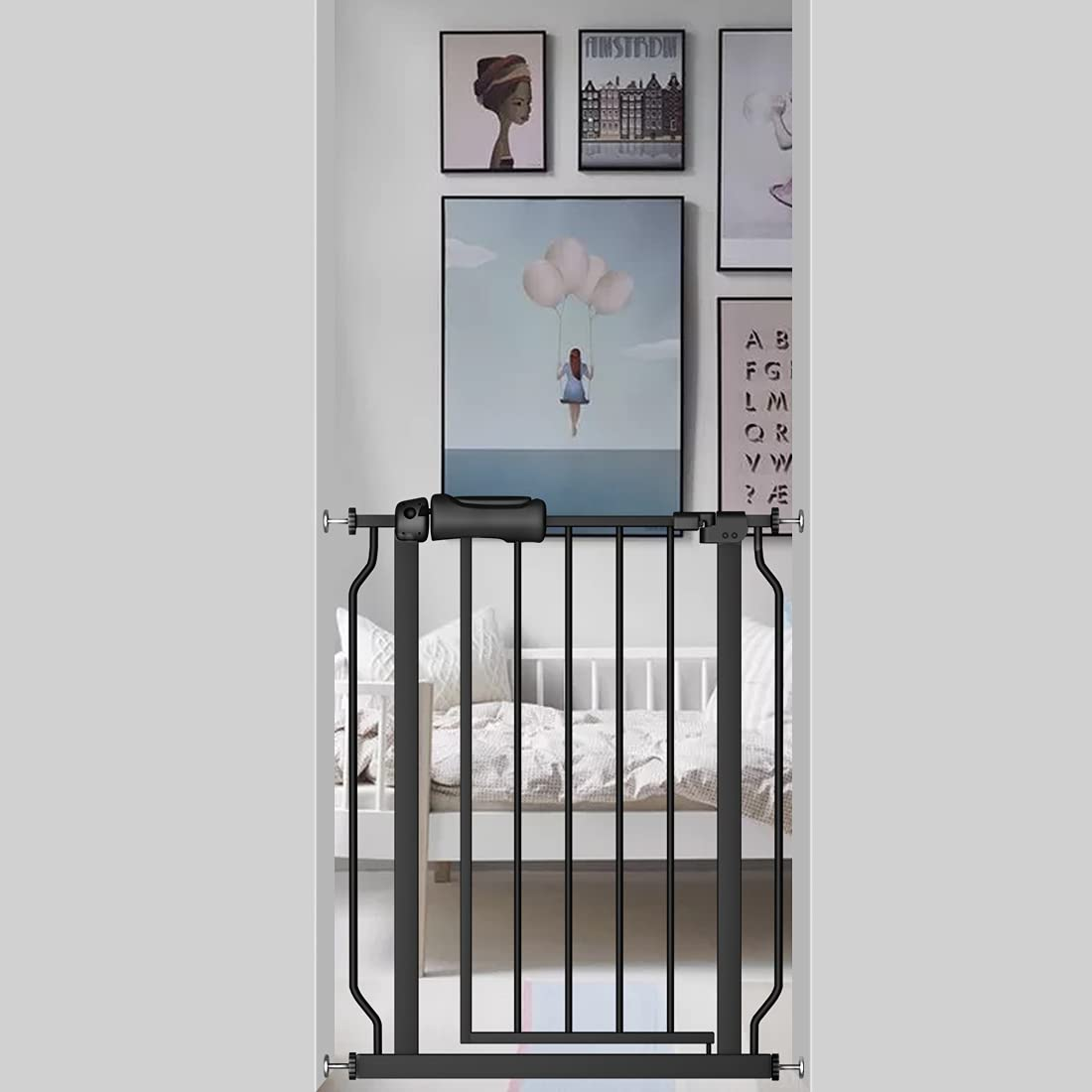 Fairy Baby Black Small Narrow Baby Gate for Doorways Stairs Hallway 25-27 Inch Wide, Pressure Mounted Walk Through Gates, Indoor Safety Child Gates for Kids or Pets