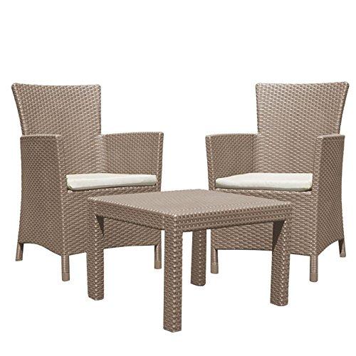 Dynamic24 3tlg. Lounge Sitzgruppe Miami braun Rattan Optik