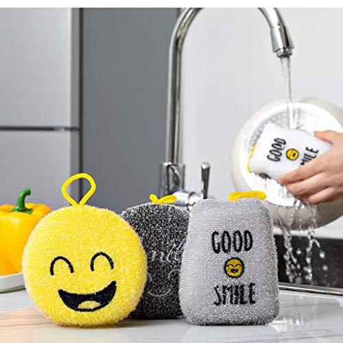 LLKK Esponja de Cocina 8 Piezas de Bloque de Cepillo de Sonrisa,Esponja de Cara Sonriente,Bloque de Esponja de Olla de Cepillo para Lavar Platos,Bloque de Esponja de Limpieza de Doble Capa con Cuerda