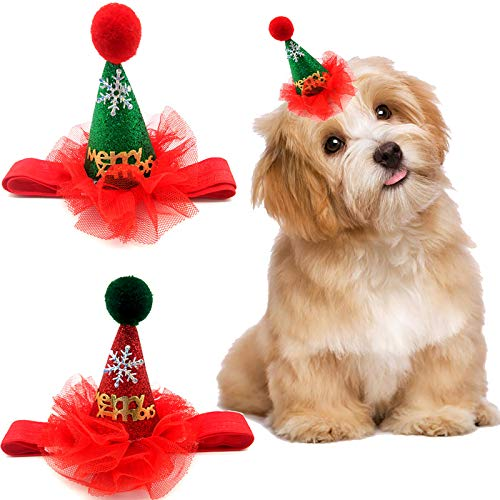 XINYID Pet Headdresses Supplies Christmas Pet Hats Merry Christmas Hat, Adjustable Tightness, PU, Red&Green-2 Pieces Review