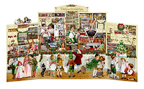 The Tiny Christmas Shop Very Large pop up 3D Traditional German Advent Calendar 40 cm Wide x 40 cm
