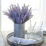 Pauwer 8pcs Flor de Lavanda Artificial Ramo de Lavanda púrpura de Seda Falsa...