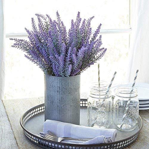 Pauwer 8pcs Flor de Lavanda Artificial Ramo de Lavanda púrpura de Seda Falsa para el hogar...