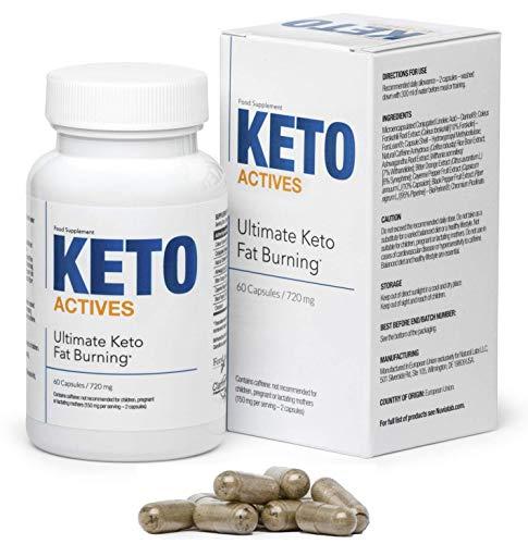 KETO ACTIVES Premium Cure minceur, 100% d'ingrédients naturels, une excellente combustion des graisses, élimine les graisses corporelles à la taille, aux hanches et aux jambes, 60 capsules