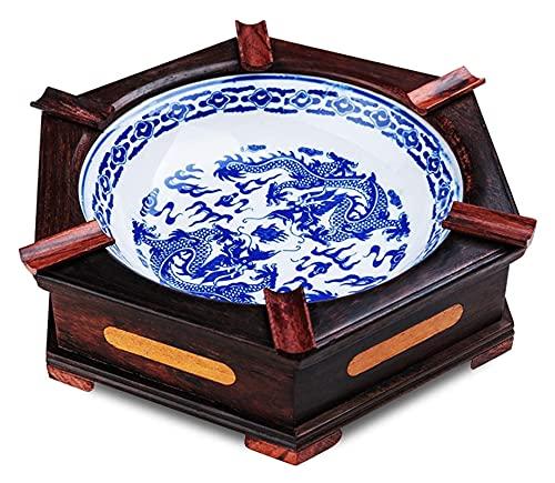 HAISERVEN Cenicero de cerámica con Base de Madera Maciza Hexagonal Antiguo clásico de Escritorio clásico cenicero (Color : A)