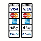 (Pack of 2 pcs) We Accept Visa Master AE PayPal Apple Pay Credit Card Logo Cashier Door Window Vinyl Sticker Store POS