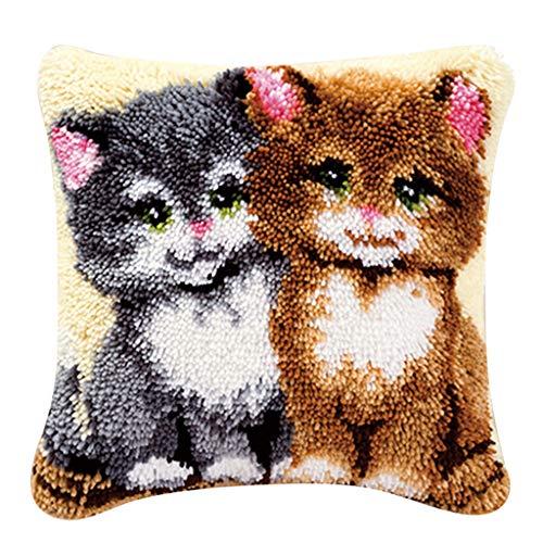 joyMerit Latch Hook Kit, Knüpfkissen für Kinder, Anfänger und Erwachsene zum Selber Knüpfen Kissens Dekokissen - Zwei Katzen