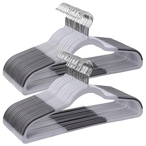 SONGMICS Kleiderbügel aus Kunststoff, 50 Stück, gut belastbar, Anzugbügel mit rutschfesten Gummi-Aufsätzen, dünn, platzsparend, Jackenbügel mit um 360° drehbarem Haken, für Mäntel, Hemden, grau CRP50G