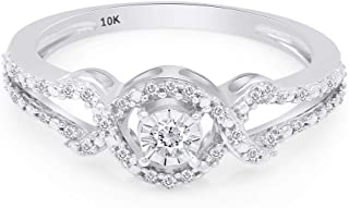 10K Gold 1/8 Cttw White Natural Round Diamond Promise Ring Jewelry For Womens (I-J Color, I2-I3 Clarity, 0.12 Carat)