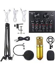 Multifunctional Live Sound Card & BM800 Suspension Microphone Kit Broadcasting Recording Condenser Microphone Set Intelligent Volume Adjustable Audio Mixer Sound Card
