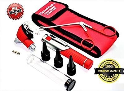 Premium Student Home Use Led Bright Light ENT Diagnostic Otoscope Pocket Size Red Plus Alligator Ear Nose Forceps Plus 1 Extra Replacement Bulb Cynamed