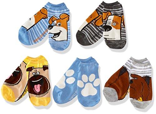 Secret Life of Pets Big Boys Movie 5 Pack Socks, Blue, 9-11
