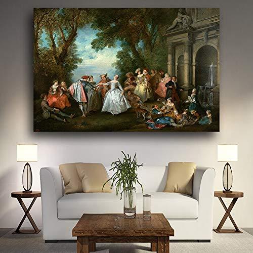 SDFSD European Party Palace schilderij olieverfschilderij op canvas poster en druk wandschilderij Pop Art Scandinavisch voor de woonkamer decoratie 60 x 80 cm