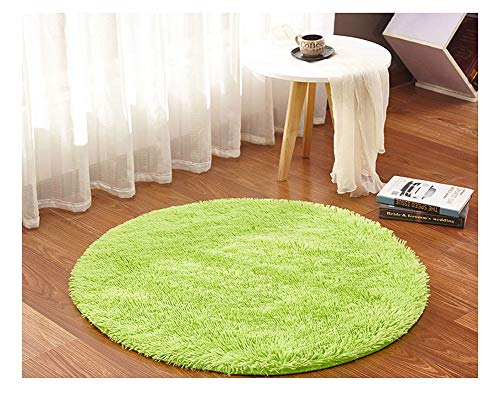 Zone Tapis Ultra Doux Rond/Tapis de Salon Chambre à Coucher en Peluche pour Enfant et Adulte Décorateur Fruit Vert 60 * 60cm