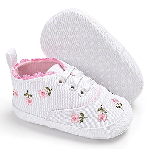 LIJUCH Newborn Infant Baby Girls Floral Crib Shoes Soft Sole Anti-Slip Sneakers Canvas Oxford High-Top Boots