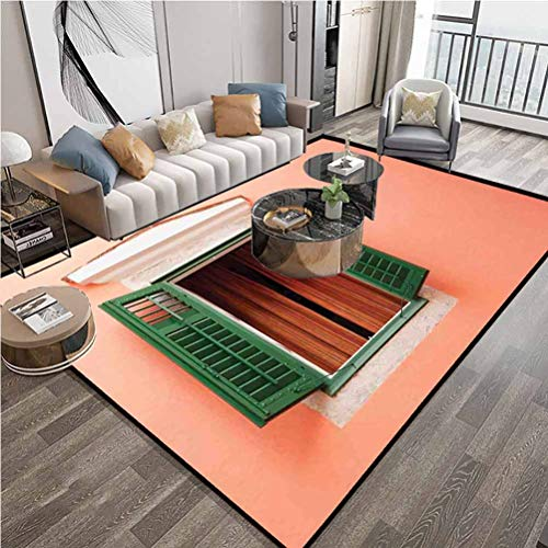 Area Rugs 4x6 (Country) Modern Home Decor,Runner Rug Contemporary Carpet with Anti-Static,Lock-Edge,Suitable for high Traffic Areas,Orange Green White