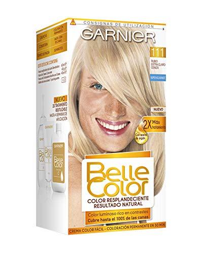 Garnier Belle Color Coloración de aspecto natural y cobertura completa de canas con aceite de jojoba y germen de trigo - Tono: Rubio Extra Claro Ceniza 111
