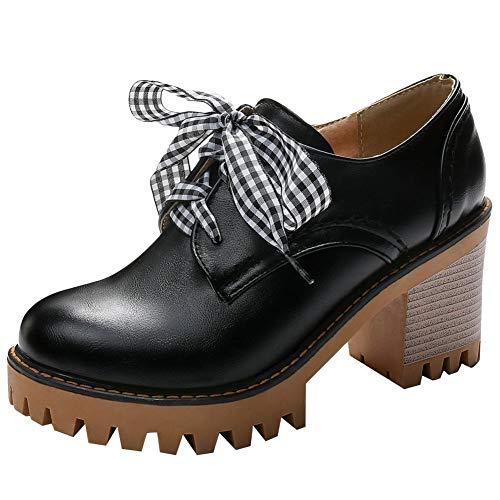 DammaiiY Dames Oxford Schoenen Met Dikke Hak En Plateauzool