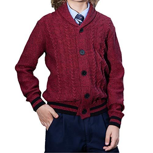 BOBOYOYO Boys Cardigan Sweater Long Sleeve Cotton Sweater Soft Warm Cross Neckline for Kids Size 4-12Y Red