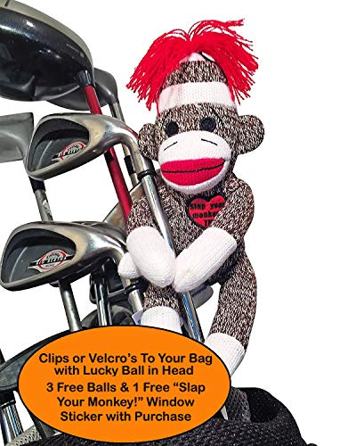 Slap Your Monkey! Golfers Stress Doll | Holds Any Golf Ball in Its Head | 3 Free Golf Balls & Decal | Our Black Logo Says Slap Your Monkey! | Funny Bag Ball Holder for Men w Funny Golf Balls