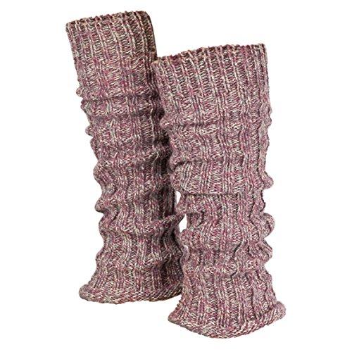 Piarini 1 Paar Grobstrick Stulpen Damen Bein - warme Winter Beinstulpen - One-Size Wolle Multicolour-rose
