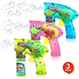 ArtCreativity Friction Powered Light Up Bubble Blaster Gun Set - Set of 3 - Includes 3 LED Bubbles Guns and 6 Bottles of Bubble Fluid - No Batteries Needed - Outdoor, Indoor Fun - Gift Idea, Party