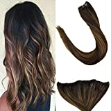 LaaVoo 45 cm Remy Micro Rings EZE Weft Brun Le Plus Fonce Balayage Marron Clair 12'...