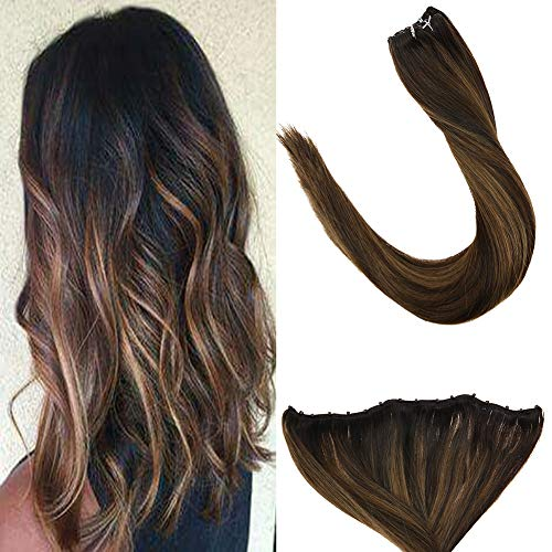 LaaVoo Remy Micro Rings EZE Weft Microrings Hair Extensions Weave Glatt Dunkelstes 100% Remy Human Hair Braun Balayage Hellbraun 12