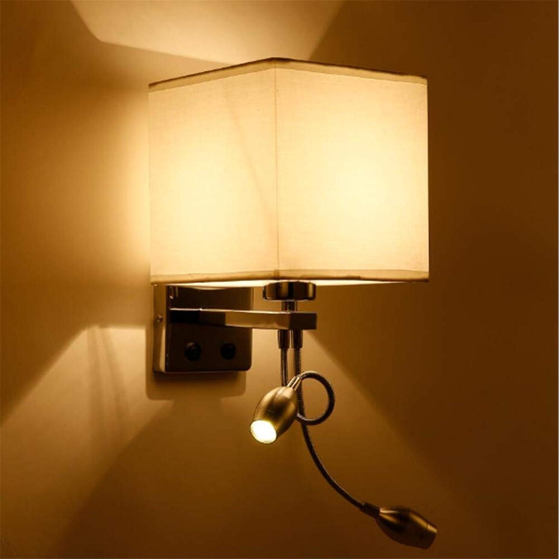 LED Wandleuchte Wohnzimmer Wandleuchte Für Schlafzimmer Nacht Hotel Nachtlicht Moderne Lampe E27, Wei, Cloth + Qualitt Hardware,Twospotlights