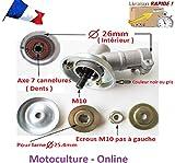 Motoculture-Online Renvoi d'angle Complet pour Tube 26 mm et axe Rond de 7 cannelures pour débroussailleuse ou Machine Multi-Fonctions 5 en 1 (tête Support Lame ou rotofil)