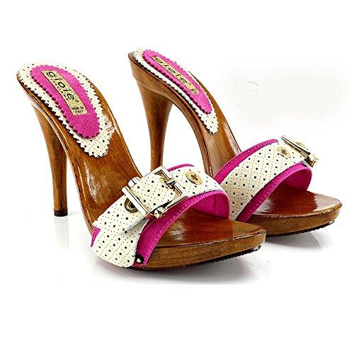 Kiara Shoes Tommy-FUXA-Zoccolo con Tacco 12 CM + Fibbia (38)