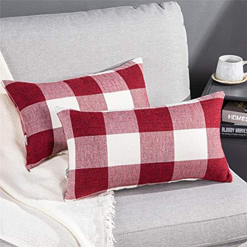 Topfinel Funda Cojin 2 Juegos de Almohada a Cuadros Algodón Lino Suave Decorativa Clásico Sofá Silla Salón Dormitorio Cama Coche 30x50cm Rojo Blanco